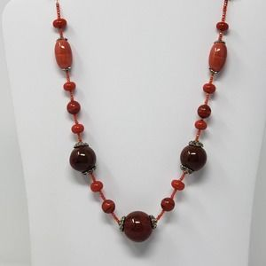 You and I Orange Red Chunky Glass Bead Necklace